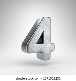 Number 4 on white background. Gun metal 3D rendered number with rough metal texture.