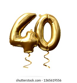 Number 40 gold foil helium balloon isolated on a white background. 3D Render