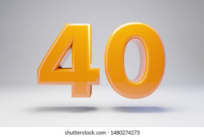 Number 40 isolated on white background. 3D rendered glossy orange number best for anniversary, birthday, celebration.