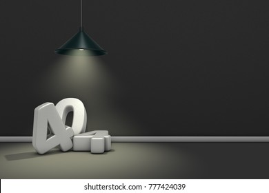 the number 404 under a lamp - 3d rendering