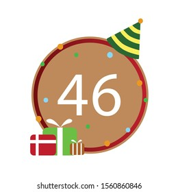 Number 46th, Number write on brown and red line box, icon, isolated on white background, Happy birthday, anniversary.