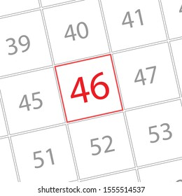 Number 46th, Number written on grid.