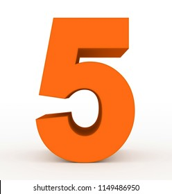 number 5 3d clean orange isolated on white - 3d rendering