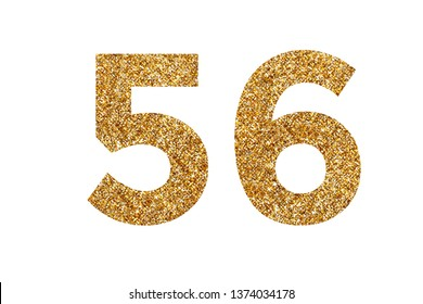 Number 5 and 6. Letters and Numbers from golden grains of sand. English alphabet. Isolated on white background.