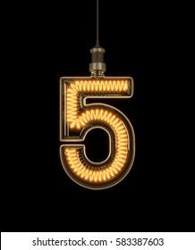 Number 5, Alphabet  made of light bulb. 3D illustration