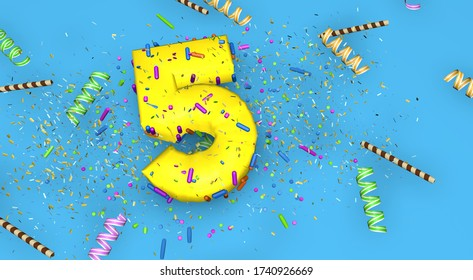 Number 5 for birthday, anniversary or promotion, in thick yellow letters on a blue background decorated with candies, streamers, chocolate straws and confetti falling from above. 3D Illustration