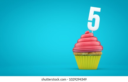 Number 5 birthday celebration cupcake. 3D Rendering
