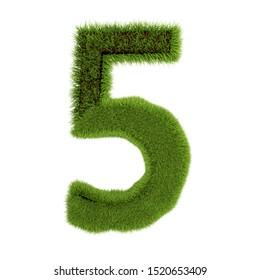 Number 5, made of grass isolated on white background. Symbol covered green grass. Eco letter. 3d illustration.