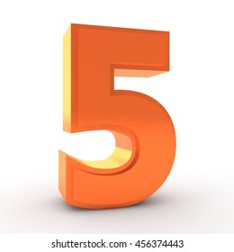 Number 5 orange color collection on white background illustration 3D rendering