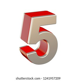 Number 5 with red glass and metallic shell isolated on white background