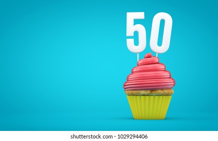 Number 50 birthday celebration cupcake. 3D Rendering