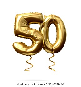 Number 50 gold foil helium balloon isolated on a white background. 3D Render