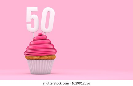 Number 50 pink birthday celebration cupcake. 3D Rendering