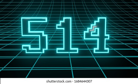 Number 514 in neon glow cyan on grid background, isolated number 3d render