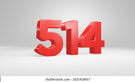 Number 514 in red on white background, isolated glossy number 3d render