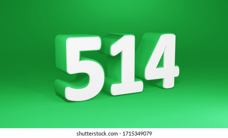 Number 514 in white on green background, isolated number 3d render