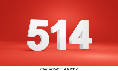 Number 514 in white on red background, isolated number 3d render