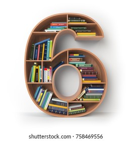 Number 6 six. Alphabet in the form of shelves with books isolated on white. 3d illustration