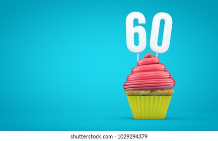 Number 60 birthday celebration cupcake. 3D Rendering