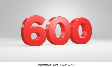 Number 600 in red on white background, isolated glossy number 3d render