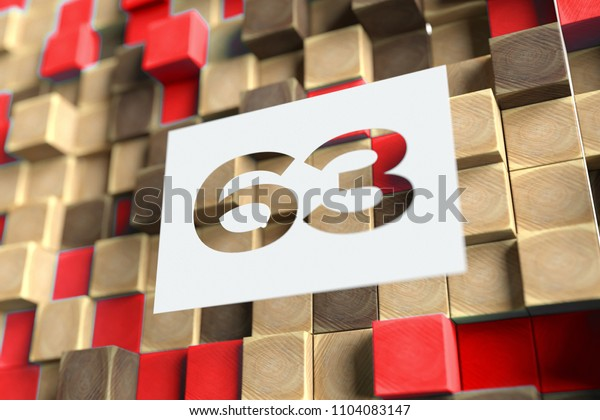 Number 63 on the Wood Pattern With Red Dots on Background. 3D Illustration of Number 63 Sixty-Three for Wallpapers and Abstract Backgrounds.