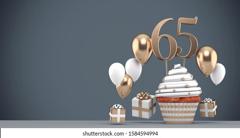 Number 65 gold birthday cupcake with balloons and gifts. 3D Render