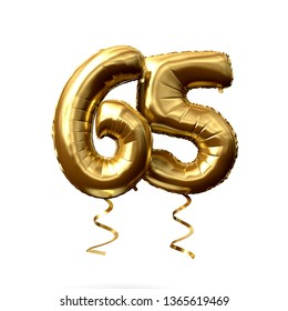 Number 65 gold foil helium balloon isolated on a white background. 3D Render