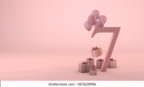 Number 7 birthday celebration pink gift box and pink balloons. 3D Render
