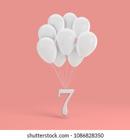 Number 7 party celebration. Number attached to a bunch of white balloons