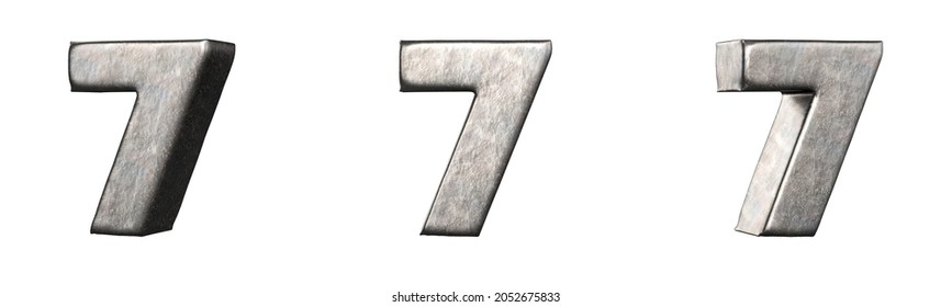 Number 7 (Seven) from a scratched iron numbers collection. Isolated. 3D Rendering