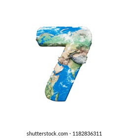 Number 7 textured with 3d world map. Realistic raster blue and green Earth map. Isolated planet design element. Alphabet symbol for company logo, banner idea. Ocean and continents on white background