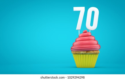 Number 70 birthday celebration cupcake. 3D Rendering