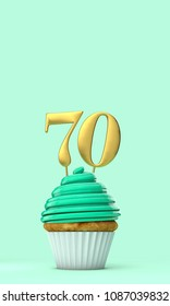 Number 70 mint green birthday celebration cupcake. 3D Rendering