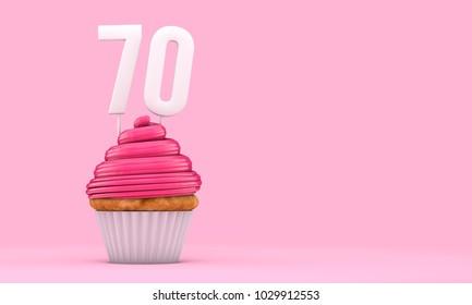 Number 70 pink birthday celebration cupcake. 3D Rendering