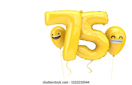 Number 75 birthday ballloon with emoji faces balloons. 3D Render