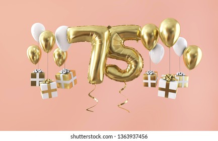 Number 75 birthday celebration gold balloon with presents. 3D Render