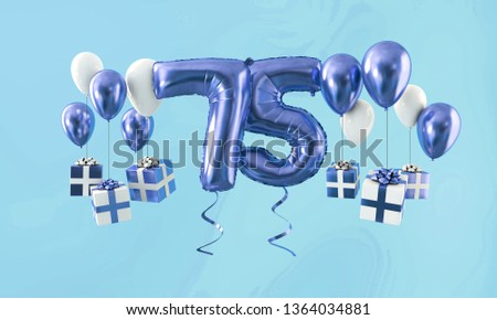 Number 75 Birthday Celebration Gold Balloon With Presents 3D Render