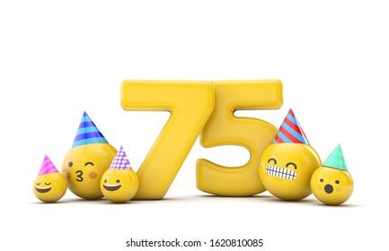 Number 75 birthday party celebration. 3D Render