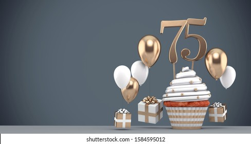 Number 75 gold birthday cupcake with balloons and gifts. 3D Render