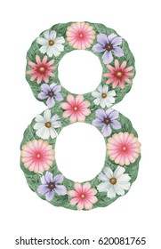 Number 8 made of Hand painted watercolor Composition of flowers, isolated on white background.