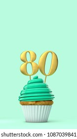 Number 80 mint green birthday celebration cupcake. 3D Rendering