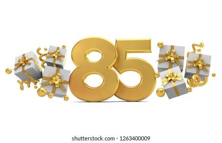 Number 85 gold birthday celebration number with gift boxes. 3D Rendering