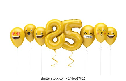 Number 85 yellow birthday emoji faces balloons. 3D Render