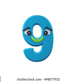 Number 9, Nine,  isolated on white background. Colorful Kids character Concept. 3d rendering