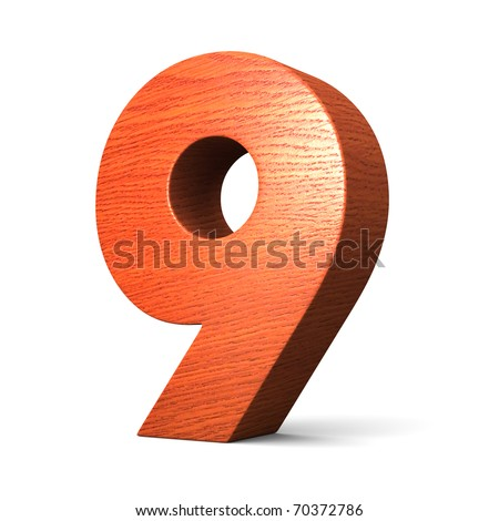 Number 9 From Redwood Alphabet There Is A Clipping Path