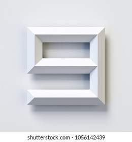 Number 9, square three dimensional font, white, simple, geometric, casting shadow on the background wall, 3d rendering