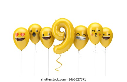 Number 9 yellow birthday emoji faces balloons. 3D Render