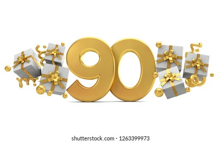 Number 90 gold birthday celebration number with gift boxes. 3D Rendering