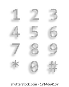 Number Balloons 0 to 9 white background gray