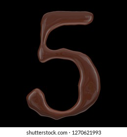 Number collection from chocolate droplets - 5. Isolated on black background. 3d rendering.